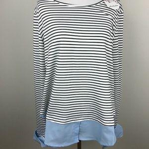 BADASHA Womens Striped Layer Look Top Blue Shirt